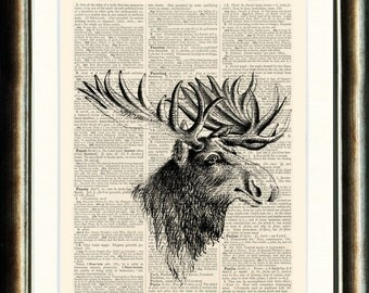 Moose - vintage image printed on a late 1800s Dictionary Page Buy 3 get 1 FREE