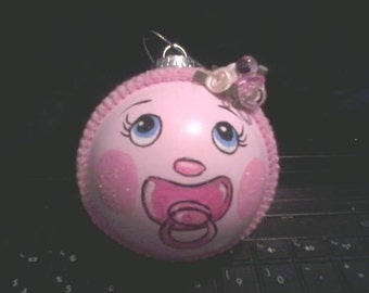 Baby Girl Baby's First Christmas Hand Painted Ornament