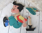 1950's Pin-Ups The Dolly Toy Co. Jack Be Nimble Jack Be Quick Jack Jump Over the Candlestick / Green Red / Childs Room Decor / epsteam