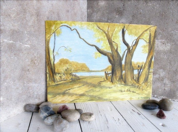 Amateur Landscape Painting on Canvas Panel / Vintage Signed Dated 1963 / Trees Fence Water / Shabby Chic Farmhouse Decor / Epsteam