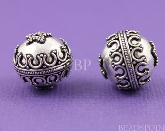 Bali Sterling Silver Beautiful Granulated Wirework Bead, Antique Finish, Fabulous Accent for Handmade Beaded Jewelry, 1 Piece, BA5107