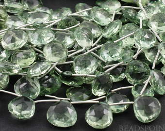 Natural ''NO TREATMENT'' Green Amethyst Faceted Heart Drops, Sage Green AAA Quality Gemstones 12x13 - 13x4mm, 1 Strand, (GAM12x13-13x14HRT)