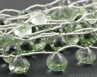 Natural ''NO TREATMENT'' Green Amethyst Micro Faceted Small Onion Drops, AAA Quality Gemstones 6x8 - 7x9mm, 4 Pieces, (4GAMsmonion)