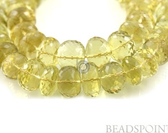 Natural '' NO TREATMENT'' Lemon Topaz Large Micro Faceted Rondelles,, AAA Quality Gemstones  12-14mm  , 1 Strand (LTZ12-14Frndl)