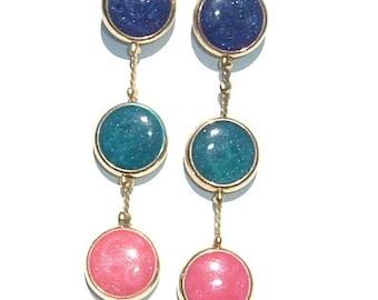 1970s CONFETTI Colored Enamel Shoulder Duster Drop Earrings