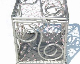 UNIQUELY CHARMING Glimmering Silver Tone Arabesque Metal Designed and Wired Glass Bead Latch  Decorative Box
