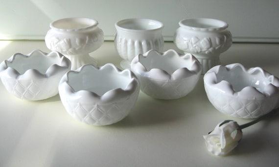 Milk Glass Planters, Bridesmaid Gifts, shabby chic wedding, table settings, wedding decor