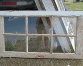 "Plain 6 Pane Barn  Color Window 1900s Window Wedding Vintage Country Primitive 37 1/2"" X 20 1/2"""