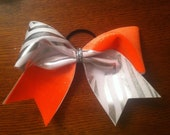 """3"""", 3 inch cheer cheerleader bow SILVER and WHITE zebra and neon ORANGE--Team Bows"""