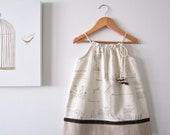 Woodland Baby dress-Natural Linen and Cotton-girl-toddler-cream beige brown-sundress-Handmade Chilldren Clothing by Chasing Mini