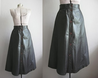 1960s Vintage Leather Skirt Chocolate Brown 60s Midi Skirt Beged Or of Israel / Small