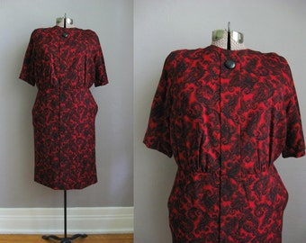 1950s Vintage Dress Red Black Cotton 50s Wiggle Dress / Medium
