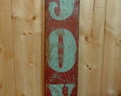 JOY- rustic painted holiday sign