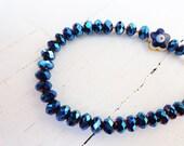 Evil eye bracelet, women, metallic blue, wholesale bracelets, women bracelets, birthday gifts, christmas gifts, cyrstal, xmas, jewelry