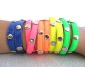 Double wrap neon bracelets, neon bracelet, neon jewelry, studded bracelet, best friend gift, rainbow colors, halloween bracelets, teenager