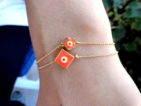 Mother daughter bracelets matching jewelry neon evil eye bracelets mother birthday gift, mommy and me christmas gifts best friendship
