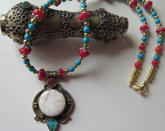 UNUSUAL Afghani pear shaped pendent on turquoise, coral and vermeil necklace