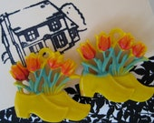vintage pair of lucite dutch shoe push pin curtain tie backs with sprouting tulips - zuzuandolive