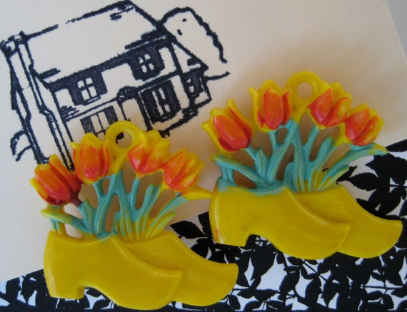 vintage pair of lucite dutch shoe push pin curtain tie backs with sprouting tulips - drapes - cork board