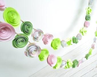 Garland Paper Flowers Pink Green Lime Shower Garland Wedding Garland 7 Feet