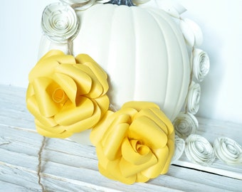 Fall Garland- Yellow and white paper flower garland four feet