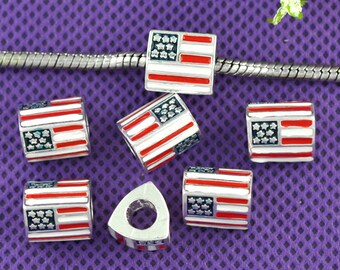 4 pieces Silver Plated Enamel Triangle American Flag European Charms