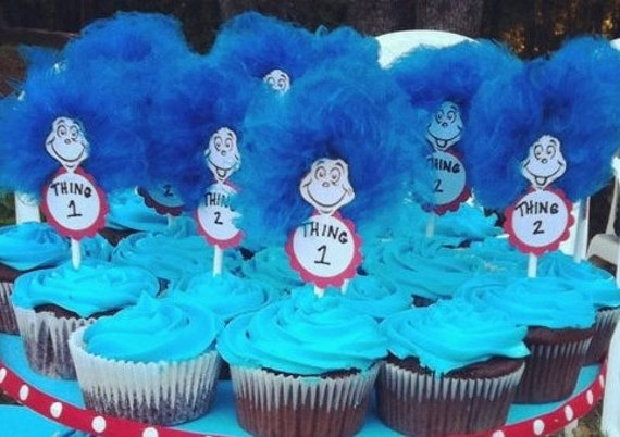 Thing 1 Thing 2 Cupcake Toppers