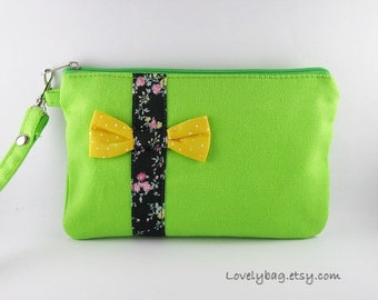 SUPER SALE - Lime Green with Little Bow Clutch - iPhone 5 Wallet, iPhone Wristlet, Cell Phone Wristlet, Zipper Pouch - Made To Order