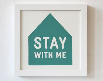 Silkscreen, Stay With Me, Print, blue