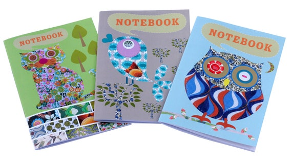 Notebooks set of three ruled notebooks featuring our owl, tweet bird and cute cat designs