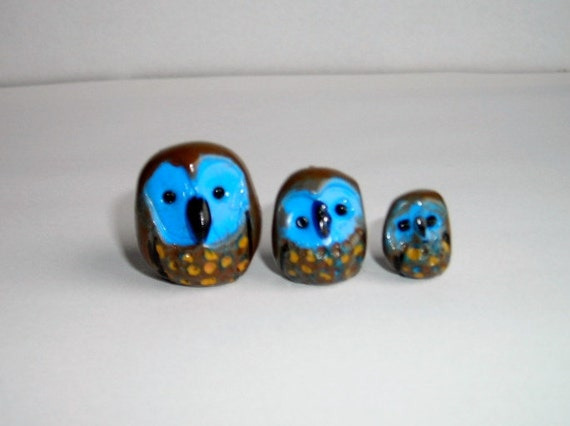 Miniature Owl Family set of 3 so cute