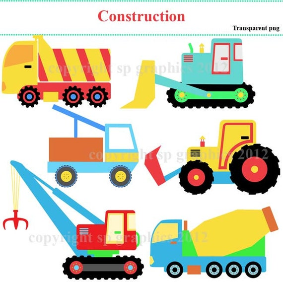 Construction vehicles - clipart for cards, scrapbooking, invites, general craft work