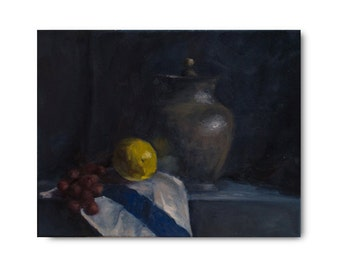 Original Oil Painting, fruit, yellow, lemon, pottery, still life art, original art, OOAK, oil painting on canvas