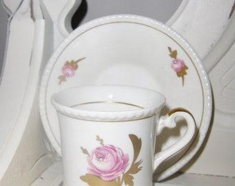 Hand Painted Demitasse Cup & Saucer Fondeville Ambassador Ware England Blank