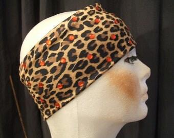 Leopard Print Stretch Headband w/ Red Rhinestones