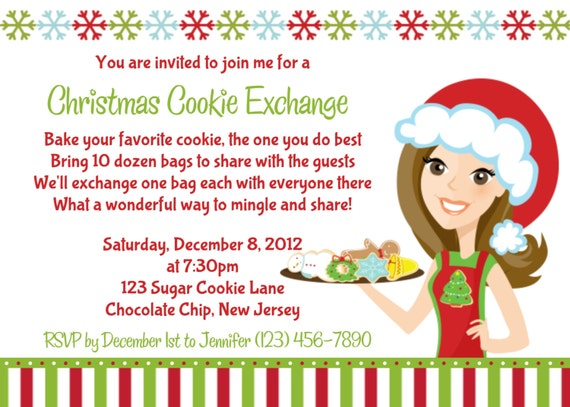 Items similar to Cookie Exchange Invitation Personalized Custom – Cookie Party Invitation