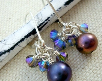 Purple and blue pearl and Swarovski crystal cluster earrings by Cerise Jewelry