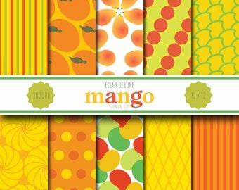 Mango Digital Scrapbook Paper Orange Yellow