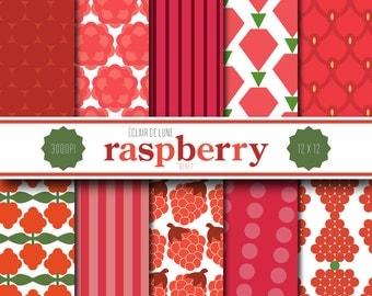 Raspberry Digital Scrapbook Paper Red Pink