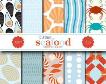Seafood Digital Scrapbook Paper Sea Food
