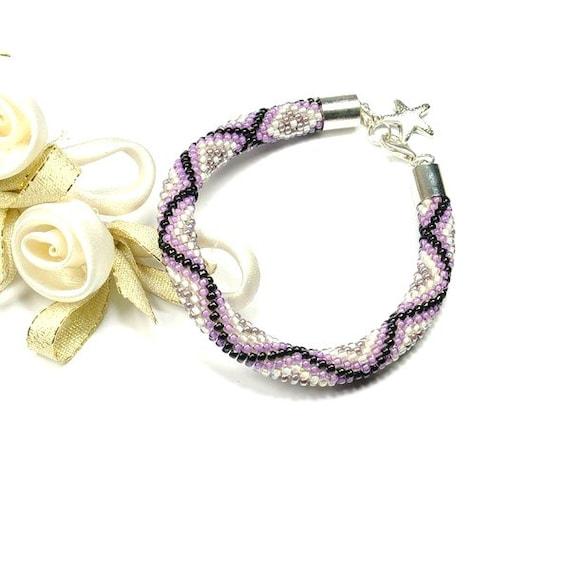 Bead Crochet Bracelet. Violet Bracelet. Beaded Bracelet. Rope Bracelet. Colored Bracelet. Toho Seed Beads Bracelet.