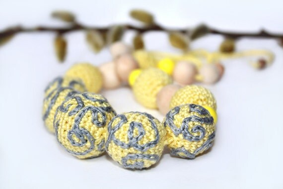 Yellow Grey Nursing/Teething Necklace - Crochet necklace with embroidered beads - Nursing necklace for Mother and child
