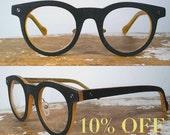 handmade black textured acetate round eyeglasses / wood-inspired black glasses with tan contrast