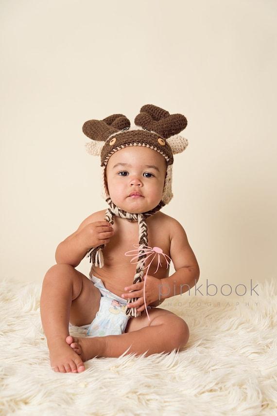 Crocheted Newborn/Child Moose Hat/Photo Prop