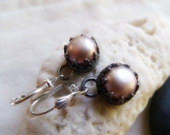 Crown Pearl Earrings - Sterling Silver Filigree Set Pearls Size 8mm - Dark Patina Finish