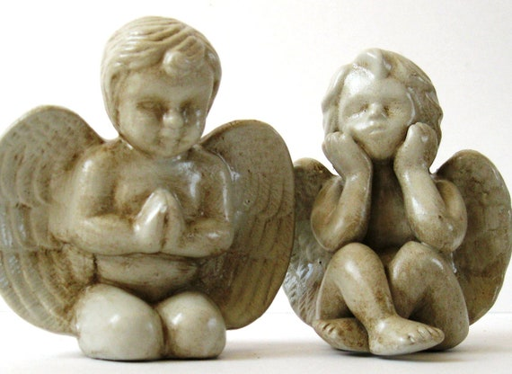 Ceramic Cherubs Collectibles for the Home Set of Two  SHIPPING INCLUDED