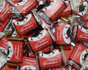 Graduation Mini Candy Bar Wrappers / Miniature Chocolate Bar Favors - For High School or College Graduation
