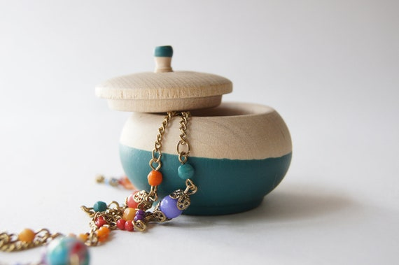 Mini Treasure Pot, Teal:  Wedding Decor, Engagement, Special Jewelry Box, Toothfairy