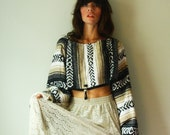 cropped sweater, baja bolero, mexican shrug.  ooak. one size. in stock.