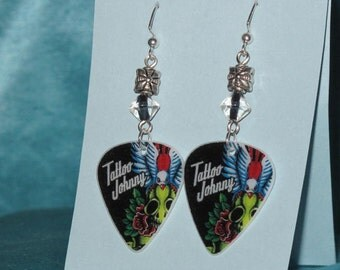 Handmade Tattoo Johnny Guitar Pick Earrings with clear and black glass bead